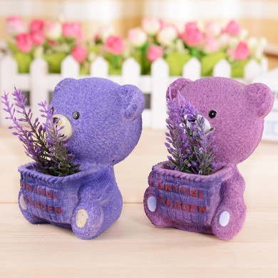 Purple Grass Bear Resin Decorations Lavender Sprout Living Room