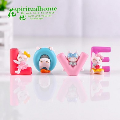 4Pcs / 1Set Fleshy Plants Love Kittens Piccoli materiali fai da te Micro decorazioni paesaggistiche