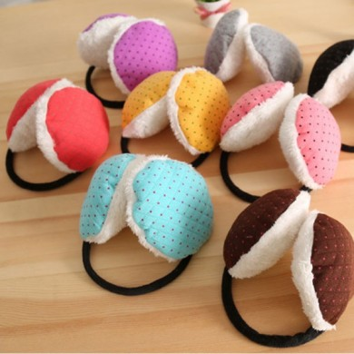 Women Winter Candy-colored Dot Warm Plush Ear Muffs Random Shipment