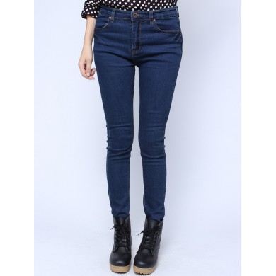 New Fashion Pencil Pants Retro Elastic Slim Blue Long Denim Jeans