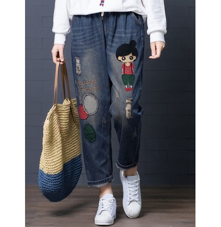 Denim Jeans Denim Hollow Drawstring