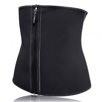 Women's Underbust Latex Zip Corset Sport Girdle Waist