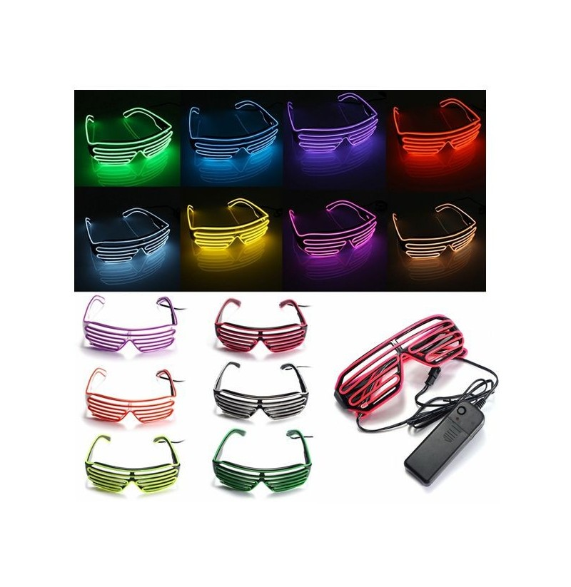 EL Wire Neon LED Light Shutter Shaped Fashionable Glasses For Costume Party (Color: Red) фото