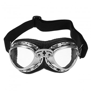 Motorcycle Goggles PU Leather Clear Lens For Harley Vintage Retro Style Helmet Glasses