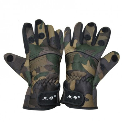 ZANLURE 1 Pair Camo Anti-Slip Winter Warm 3 Finger Cut Gloves Outdoor Hunting Fishing Gloves