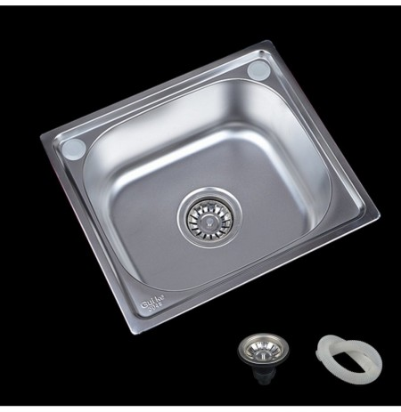 17x15'' Stainless Steel Water Sink Single Bowl Kitchen Laundry Wash Under/Topmount Faucet Accessory