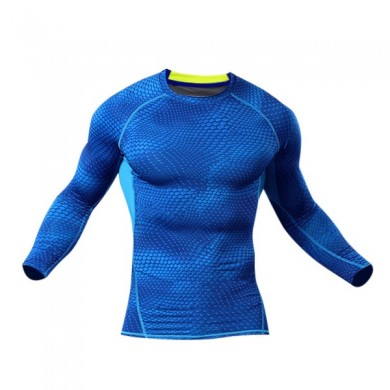 Men Compression Body Shaper Enge Sport Stretch Langarm-Shirt O-Ansatz Fitness Base Layer