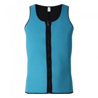 Men Ultra Sweat Compressing Neoprene Zipper Sports Vest Tank Top Training Corsets Bodysuit