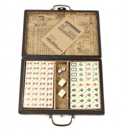 Portable Retro Mahjong Box Rare Chinese 144 Mah-Jong Set Bamboo Piece With Box