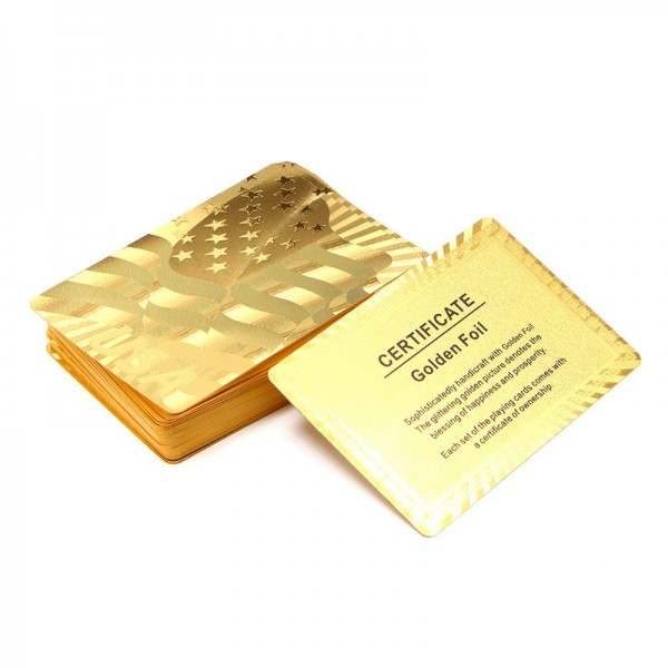 Gold Plastic Coated Playing Cards Poker Game USA National Flag Style