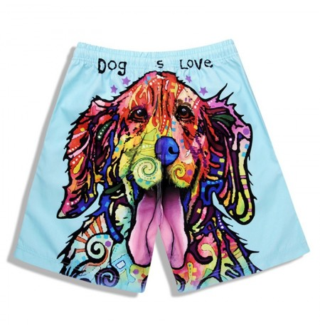 S5265 Beach Shorts Board Shorts 3D Love Dog Printing Fast Drying Waterproof Elasticity