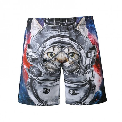 S5266 Beach Shorts Board Shorts 3D Astronaut Space Cat Printing Fast Drying Waterproof Elasticity
