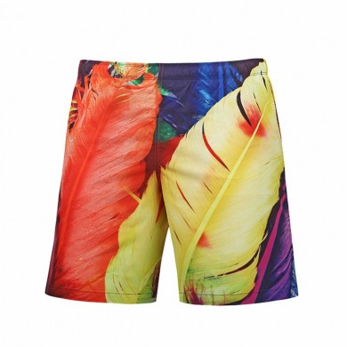 S52511 Beach Shorts Board Shorts 3D Feather Hip-hop Printing Fast Drying Waterproof Elasticity