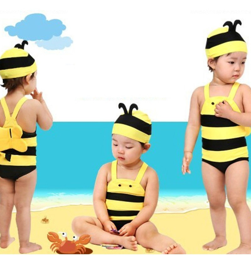 Children's Swimsuit Lovely Honey Bee Hot Spring Holiday Swimming suit Baby Swimwear (Size: L) фото