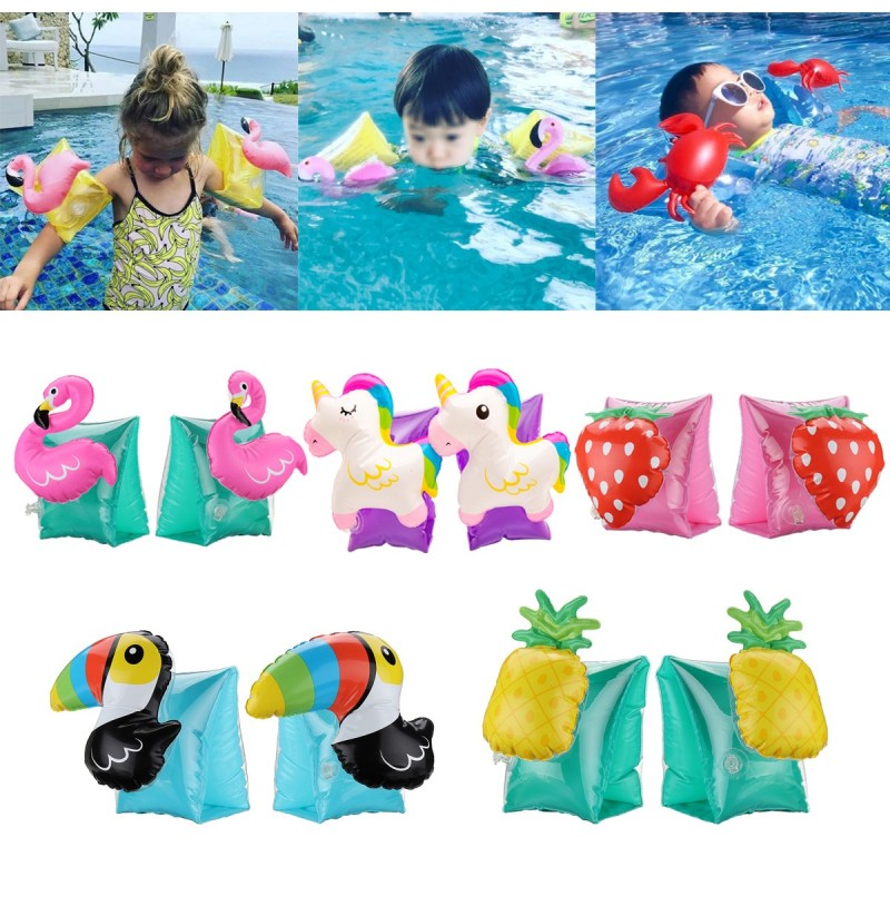 1 Pair Kids Summer Inflatable Safety Swimming Ring Arm Bands Cartoon Water Float (Color: 03) фото