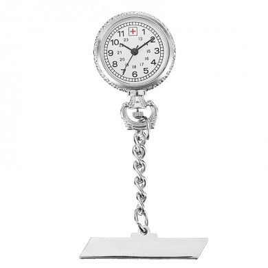 Nurse Silver White Dial Quartz Pocket Watch