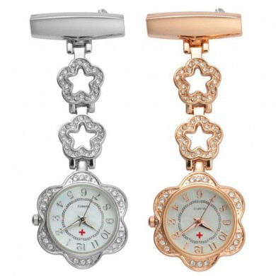 Crystal Flower Dial Clip-on Stainless Doctor Nurse Watch