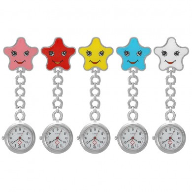 Women Cartoon Sea Star Shape Smiley Face Nurse Watch