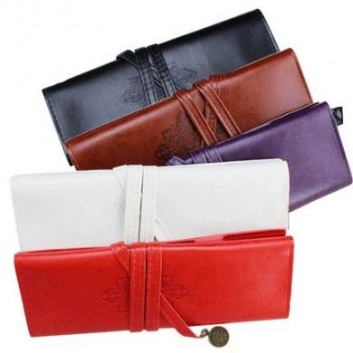 WAM PC-1031 Penna in pelle PU Borsa Pencil Case Trucco Pouch Vintage Style Roll Up Pencil Borsas