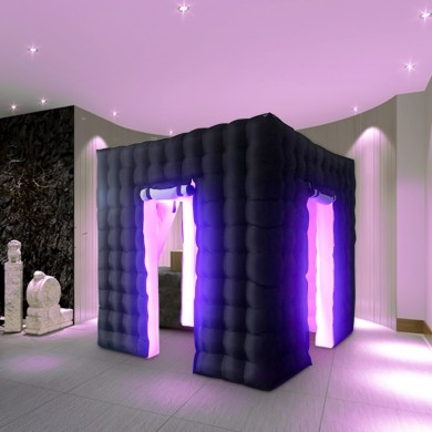 2.5m 2 Door 8 LED Color Bulb Strip Inflatable Photo Photography Booth Enclosure Cube Tent