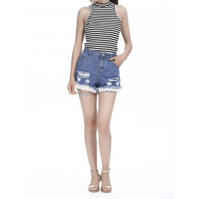 Women Casual Knit Striped Sleeveless Slim Tank Tops