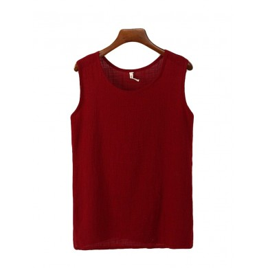Summer Casual Sleeveless Pure Color Women Tank Tops