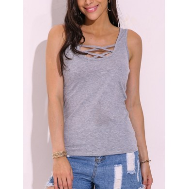 Sexy Women Lace-Up Plunge Tank Tops Stretch Slim Sleeveless Vests