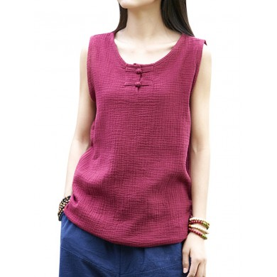 Vintage Pure Color Cotton Linen Tank Tops