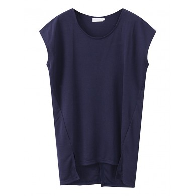 Women Loose O-Neck Batting Sleeve Cotton Tank Tops