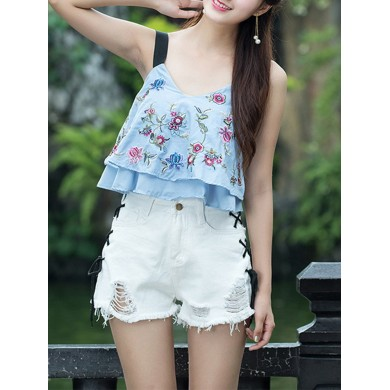 Folk style Strap Embroidery V-neck Double Layer Tank Tops
