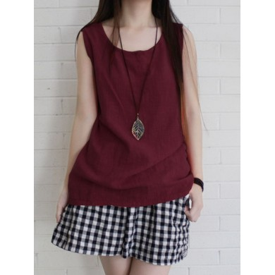 Women Sleeveless Solid Color Vintage Tank Tops