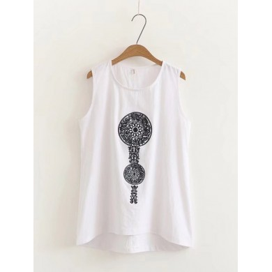 Embroidery Sleeveless O-neck Irregular Tank Tops