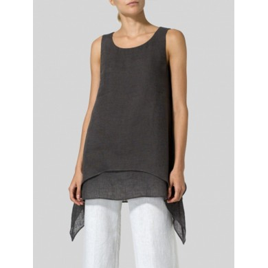 Sleeveless Crew Neck Casual Solid Tank Tops