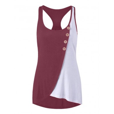 Women Casual Patchwork Irregular Hem Tank Tops