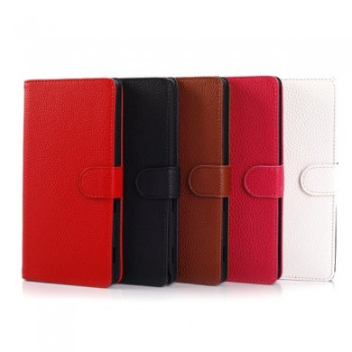 Fashion Magnetic Clasp Litchi Grain Leather Case For Sony T2