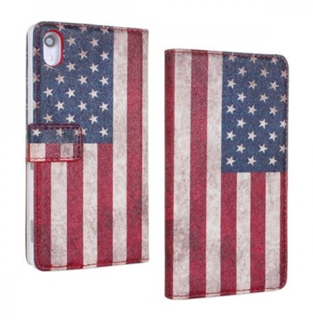 American Flag Filp PU Leather Protective Case for SONY Xperia Z2