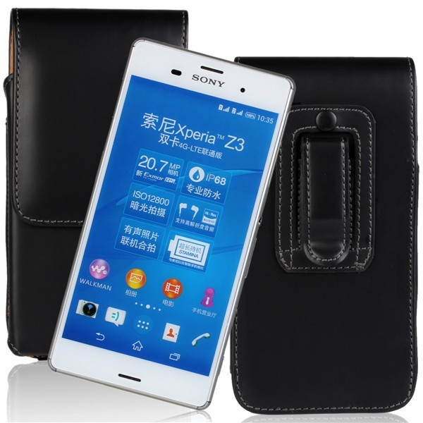 Waist Hanged Black Flip Open Up And Down Leather Case For Sony Z3