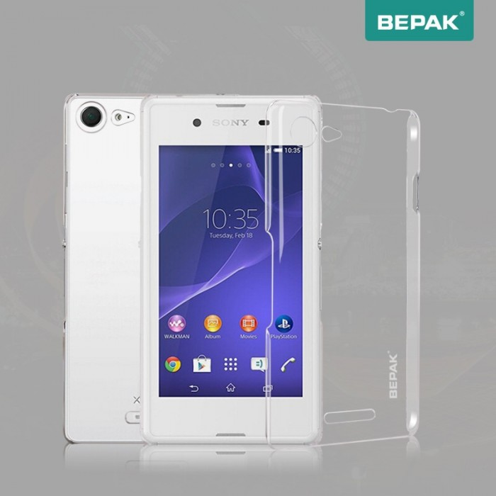 Bepak Brand Clear Crystal Transparent PC Naked Case Cover For Sony E3
