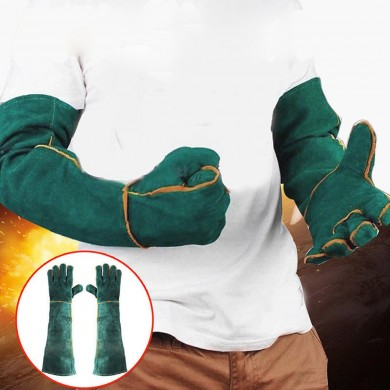 60cm Cowhide Electric Welding Gloves Leather Gear Mitten Long Heat Protect Warm
