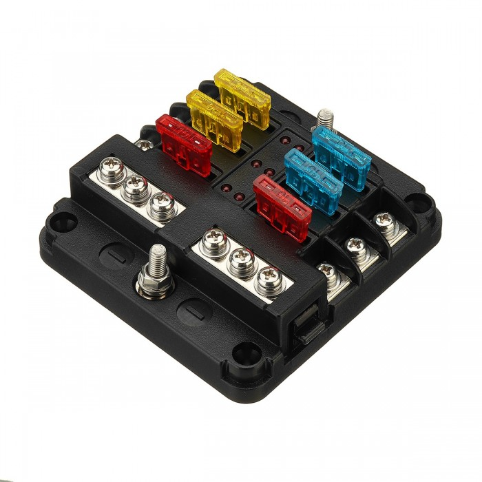 blade fuse box 12v 24v 6 way blade fuse holder box block case for car truck  12v 24v 6 way blade fuse holder box
