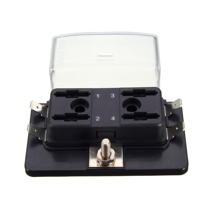 4 Way Side Terminal Bussed Power Blade Fuse Box Block Holder with Cover How Much Is A Fuse Box For Car on