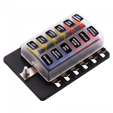 iMars CS-579B4 12 Way Blade Fuse Box Holder with LED Warning Light Kit for Car Boat Marine Trike