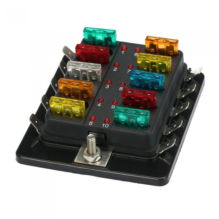 blade fuse box 10 way blade fuse holder box 32v led illuminated automotive  10 way blade fuse holder box 32v led