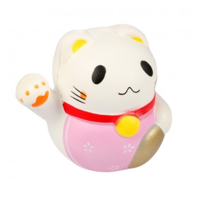 10 cm Kawaii Fortune Cat Jumbo Squishy Charms Soft Buns porte-clés Téléphone portable Strap Pendentif Squishes Cartoon Cute Doll