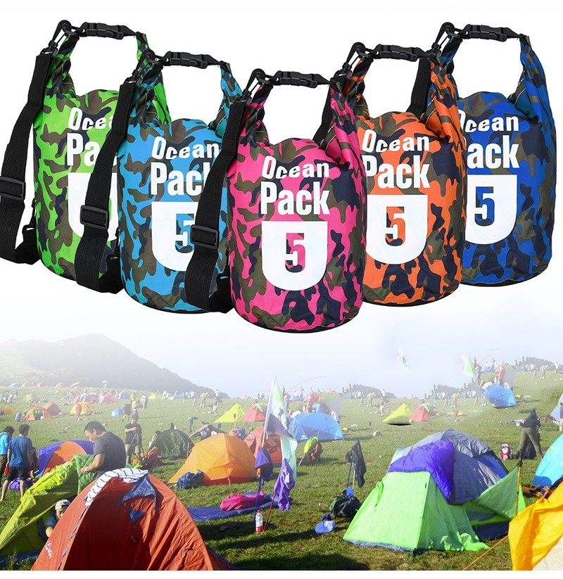 5L Waterproof Bag Camping Rafting Storage Dry Bag Swimming Bag Lightweight Diving Floating Bag (Color: Rose)