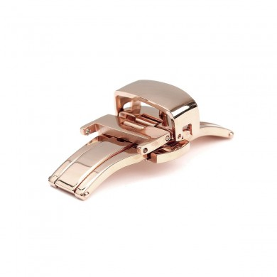 Stainless Steel Double Button Fold Butterfly Watch Band Buckle Clasp