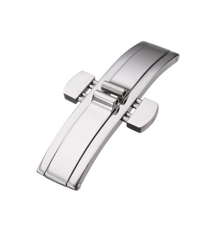 Double Push Button Fold Deployment Stainless Steel Clasp