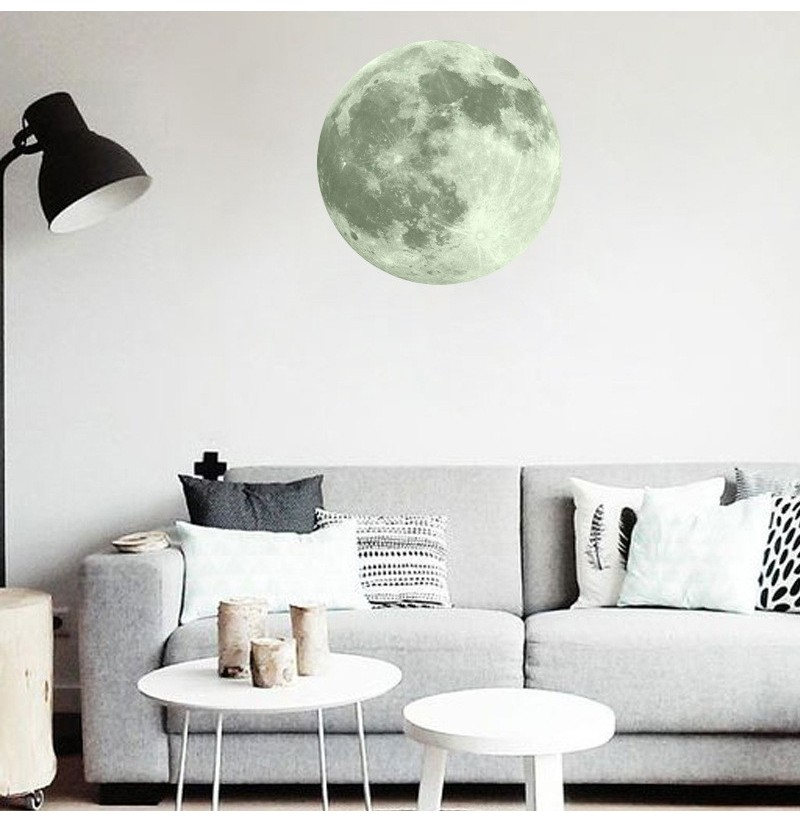 30cm large moon glow in the dark luminous diy wall sticker living home decor. Black Bedroom Furniture Sets. Home Design Ideas