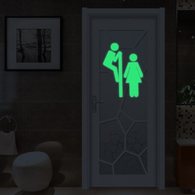 Miico Creative Man and Women Luminous PVC Removable Home Bathroom Decorative Wall Door Decor Sticker