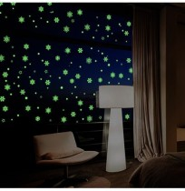 Creative Snow Fluorescent Luminous Paste Stickers Night Light Living Room Bedroom Decorative Wall Sticker Can Be Removed DIY PVC